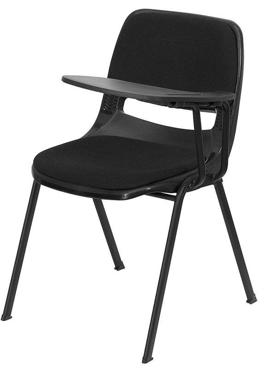Flash Furniture RUT-EO1-01-PAD-LTAB-GG Black Padded Ergonomic Shell Chair with Left Handed Flip-Up Tablet Arm