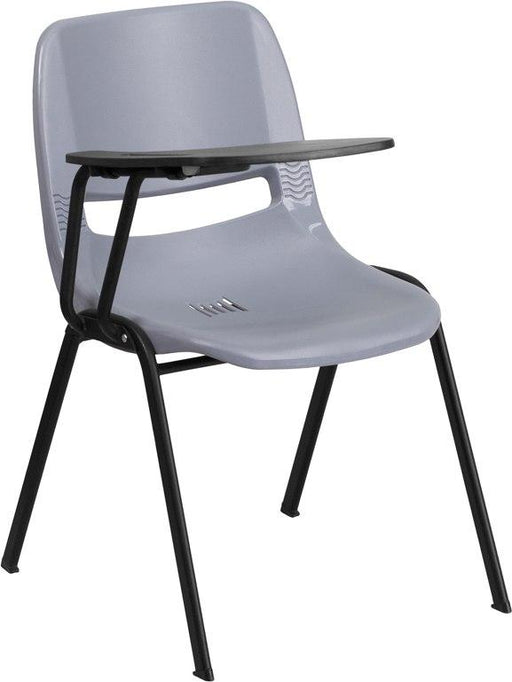 Flash Furniture RUT-EO1-GY-RTAB-GG Gray Ergonomic Shell Chair with Right Handed Flip-Up Tablet Arm