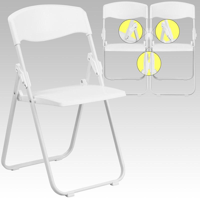 Flash Furniture RUT-I-WHITE-GG HERCULES Series 880 lb. Capacity Heavy Duty White Plastic Folding Chair with Built-in Ganging Brackets