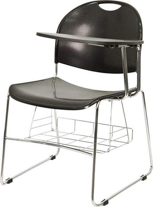 Flash Furniture RUT-NC188-03C-04A-LFT-GG Black Plastic Chair with Left Handed Flip-Up Tablet Arm and Book Basket