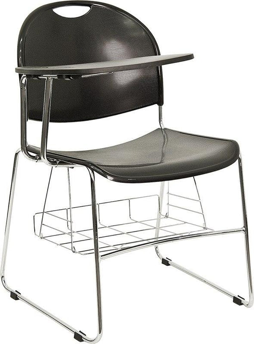 Flash Furniture RUT-NC188-03C-04A-RT-GG Black Plastic Chair with Right Handed Flip-Up Tablet Arm and Book Basket