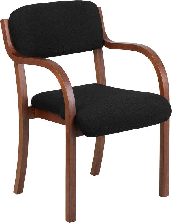 Flash Furniture SD-2052A-WAL-GG Contemporary Walnut Wood Side Reception Chair with Arms and Black Fabric Seat