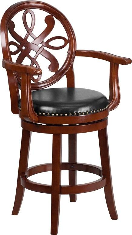 Flash Furniture TA-550226-CHY-GG 26'' High Cherry Wood Counter Height Stool with Arms and Black Leather Swivel Seat
