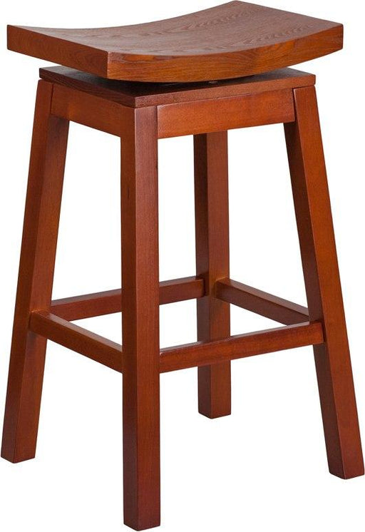 Flash Furniture TA-SADDLE-LC-1-GG 30'' High Saddle Seat Light Cherry Wood Barstool with Auto Swivel Seat Return