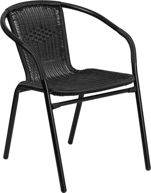Flash Furniture TLH-037-BK-GG Black Rattan Indoor-Outdoor Restaurant Stack Chair