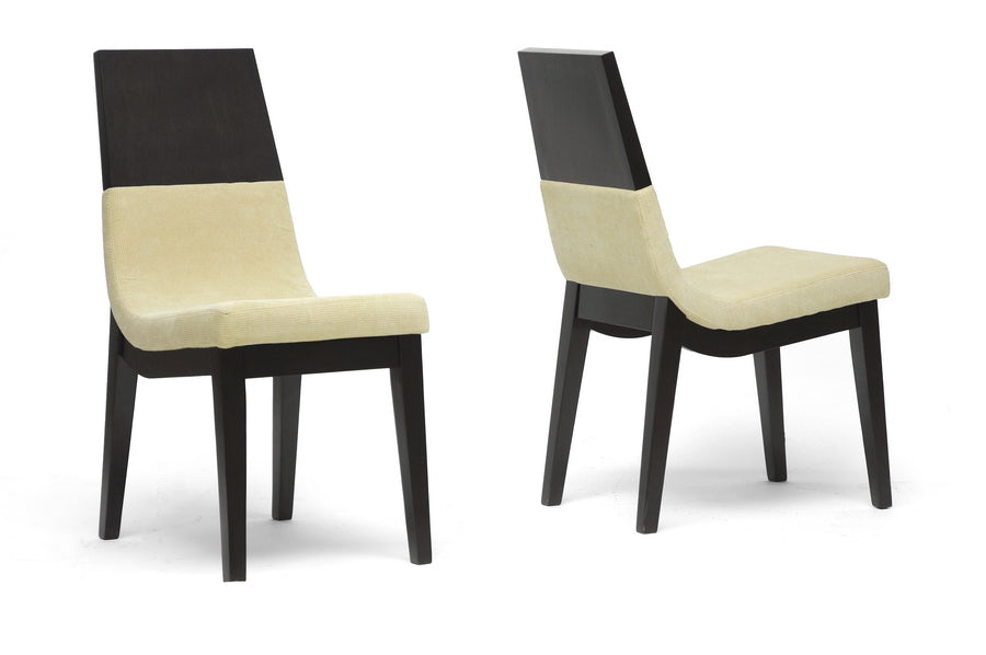 Wholesale interiors Prezna Dark Brown and Beige Modern Dining Chair  (Set of 2) TMH279-DC