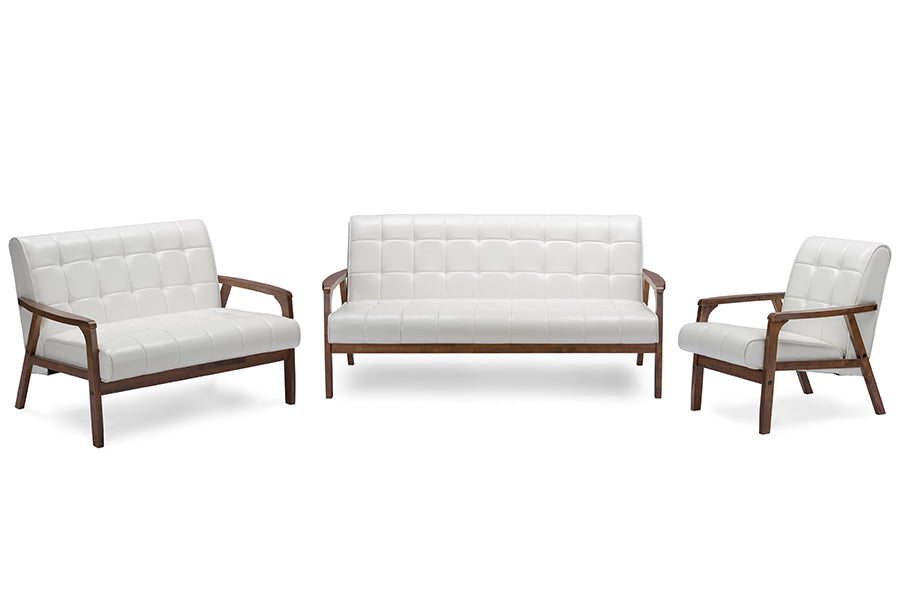 Wholesale interiors  Mid-Century Masterpieces 3 Pieces Living Room Set - White TOGO 3PC Sofa Set-White