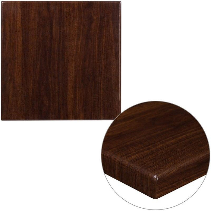 Flash Furniture TP-WAL-2424-GG 24'' Square High-Gloss Walnut Resin Table Top with 2'' Thick Drop-Lip