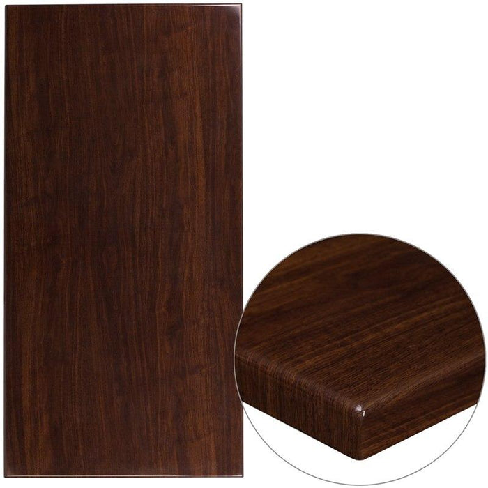 "Flash Furniture TP-WAL-3060-GG 30"" x 60"" Rectangular High-Gloss Walnut Resin Table Top with 2"" Thick Edge"