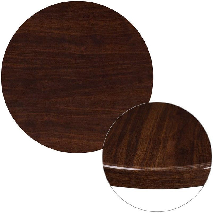 Flash Furniture TP-WAL-30RD-GG 30'' Round High-Gloss Walnut Resin Table Top with 2'' Thick Drop-Lip