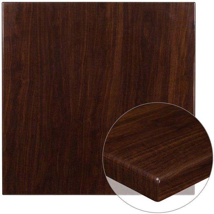 Flash Furniture TP-WAL-3636-GG 36'' Square High-Gloss Walnut Resin Table Top with 2'' Thick Drop-Lip