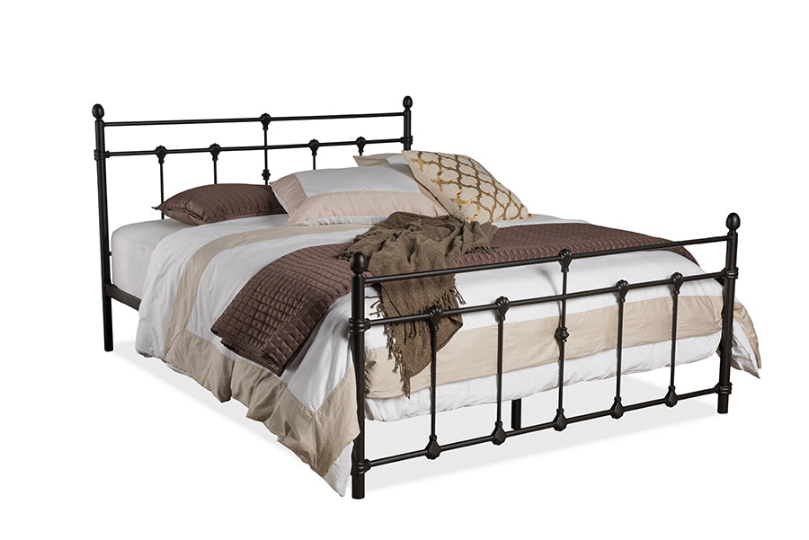 Wholesale interiors Belinda Vintage Industrial Black Finished Metal Queen Size Platform Bed TS1030-Black-Queen