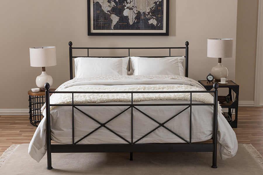 Wholesale interiors Barney Vintage Industrial Black Finished Metal Queen Size Platform Bed TS-Barney-Black-Queen