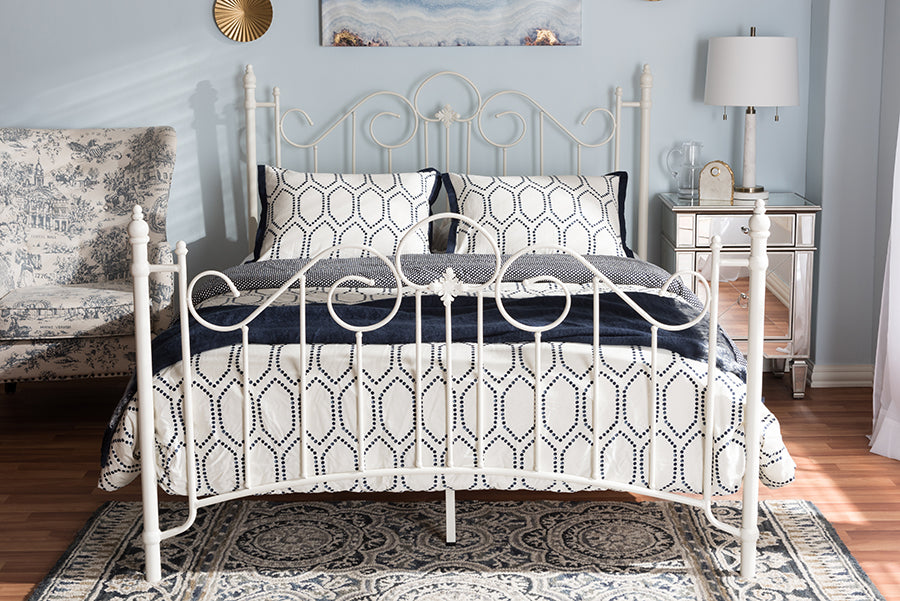 Wholesale interiors Scarlett Vintage Industrial White Finished Metal Queen Size Platform Bed TS-Scarlett-White-Queen