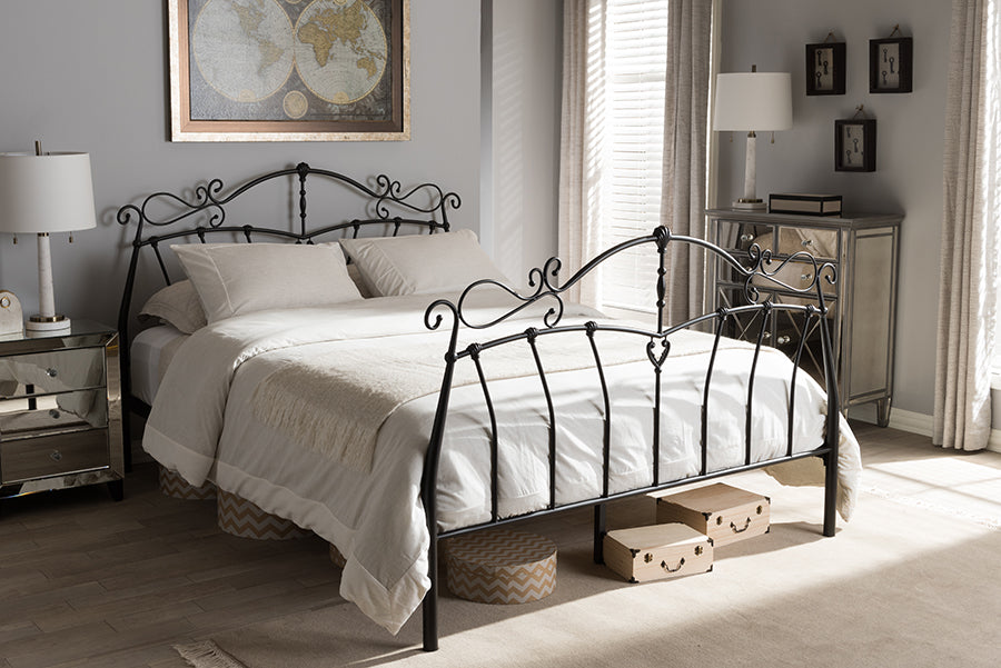 Wholesale interiors Selena Vintage Industrial Black Finished Metal Queen Size Platform Bed TS-Selena-Black-Queen