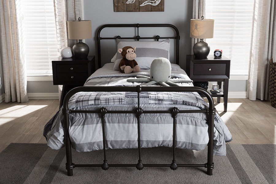 Wholesale interiors Mandy Vintage Industrial Black Finished Metal Twin Size Platform Bed TS105-Black-Twin
