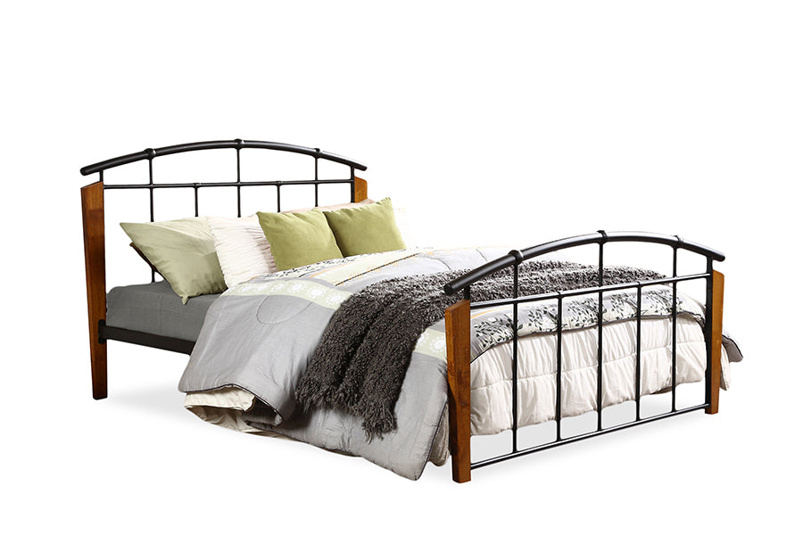 Wholesale interiors Optimus Vintage Industrial Black Finished Metal Queen Size Platform Bed TS1092-Black-Queen