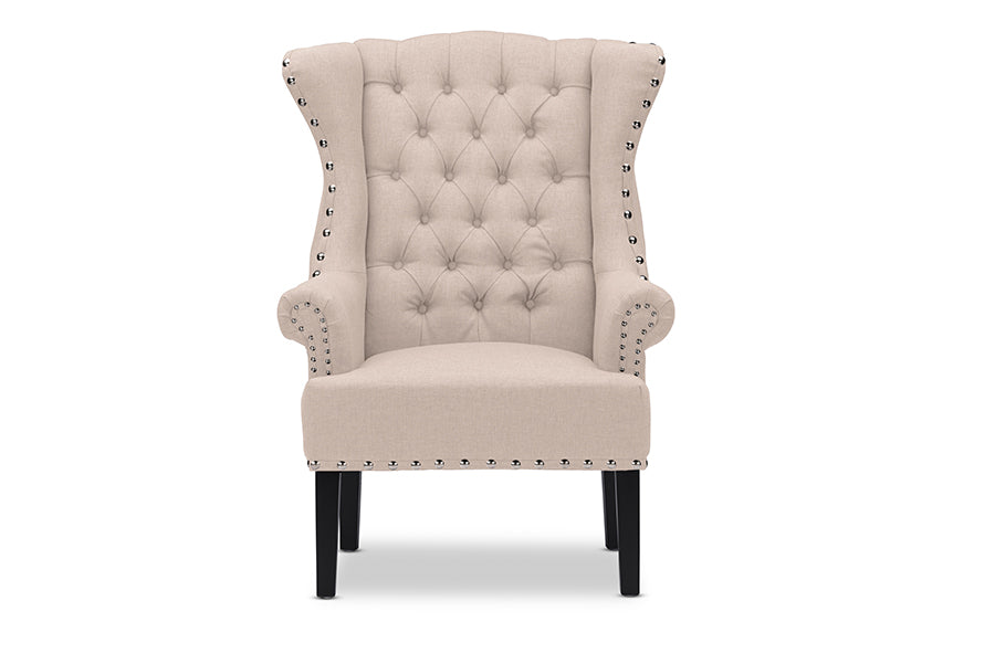 Wholesale interiors Knuckey French Country Beige Linen Nail Head Wing Back Armchair TSF-8132-CC-Beige
