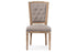 Wholesale interiors Estelle Chic Rustic French Country Cottage Weathered Oak Beige Fabric Button-tufted Upholstered Dining Chair TSF-9341