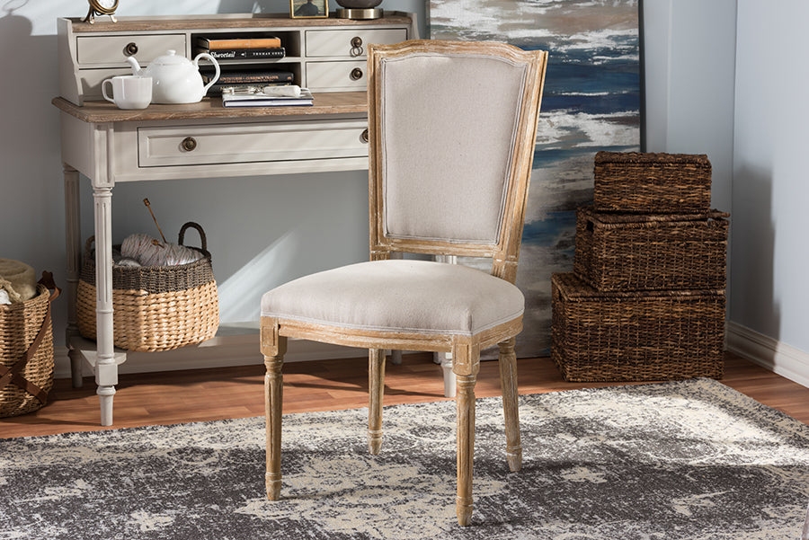 Wholesale interiors Cadencia French Vintage Cottage Weathered Oak Finish Wood and Beige Fabric Upholstered Dining Side Chair TSF-9341B-Beige-DC