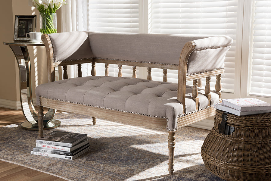 Wholesale interiors Nora Swedish Gustavian Style Distressed Oak Wood Linen Upholstered Sofa Settee TSF-9528-Beige/Natural-LS
