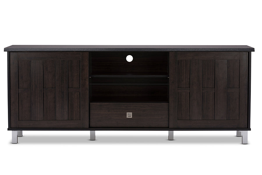 Wholesale interiors Unna 70-Inch Dark Brown Wood TV Cabinet with 2 Sliding Doors and Drawer TV831240 -Wenge