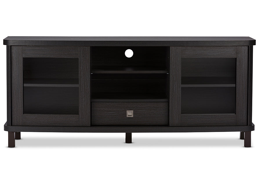 Wholesale interiors Walda 60-Inch Dark Brown Wood TV Cabinet with 2 Sliding Doors and 1 Drawer TV838071-Embosse