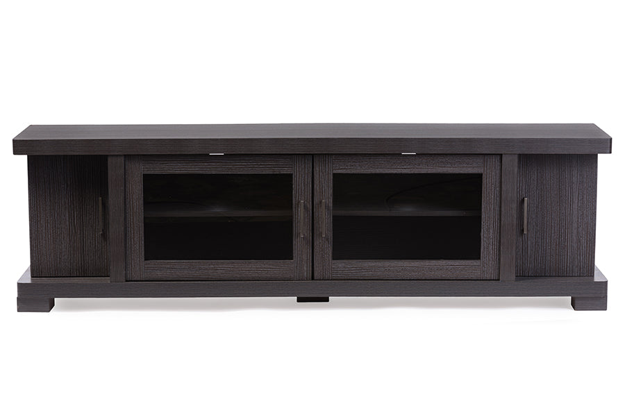 Wholesale interiors Viveka 70-Inch Dark Brown Wood TV Cabinet with 2 Glass Doors and 2 Doors TV838076-Embosse