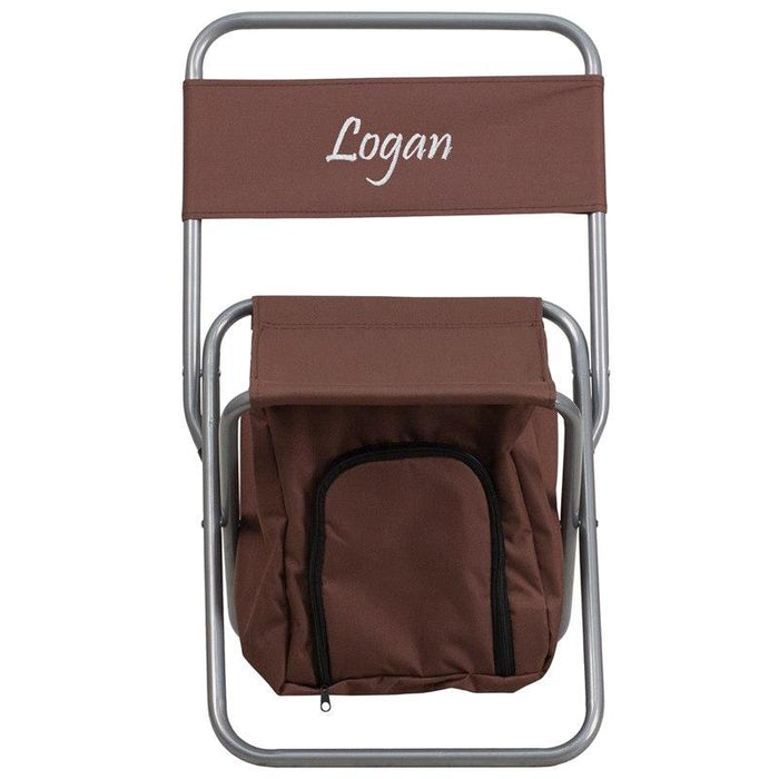 Flash Furniture TY1262-BN-EMB-GG Embroidered Folding Camping Chair with Insulated Storage in Brown