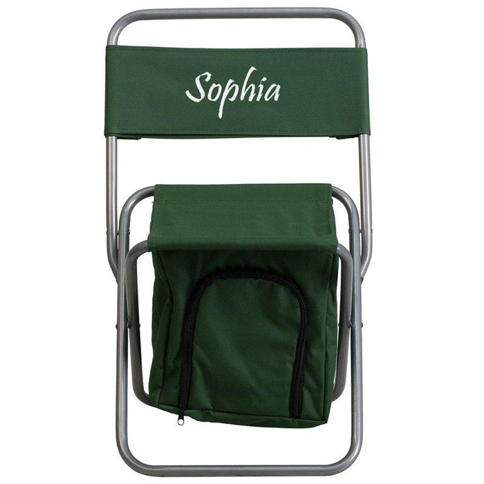 Flash Furniture TY1262-GN-EMB-GG Embroidered Folding Camping Chair with Insulated Storage in Green