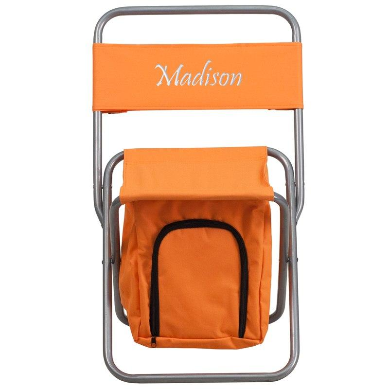 Flash Furniture TY1262-OR-TXTEMB-GG Personalized Folding Camping Chair with Insulated Storage in Orange