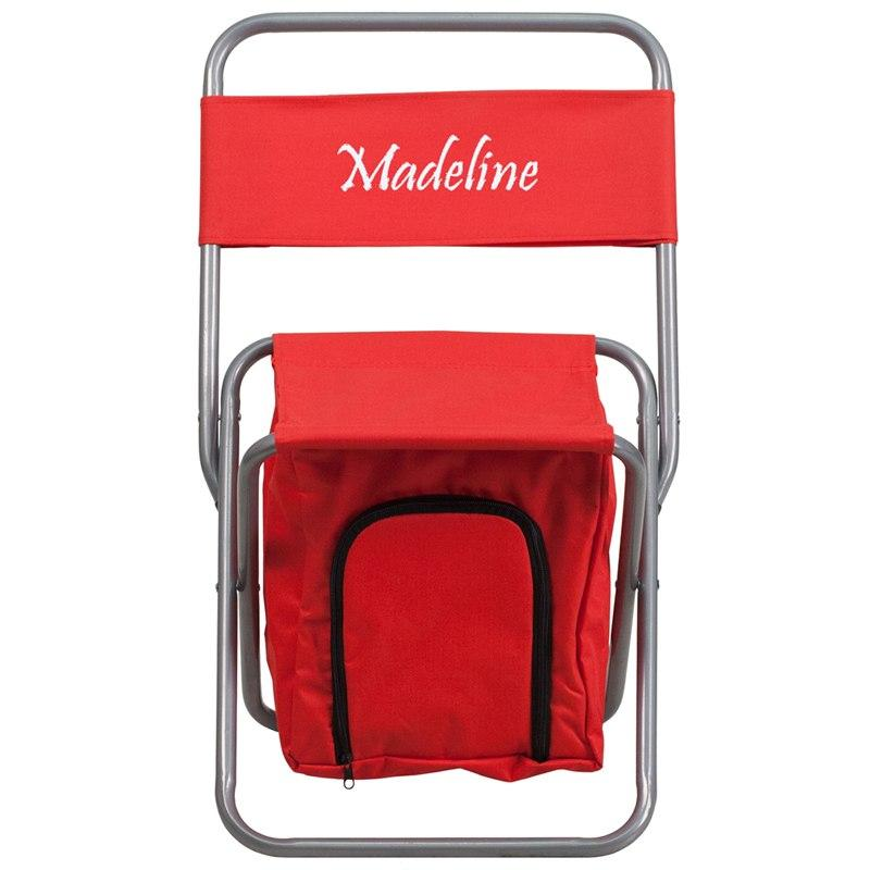 Flash Furniture TY1262-RED-TXTEMB-GG Personalized Folding Camping Chair with Insulated Storage in Red