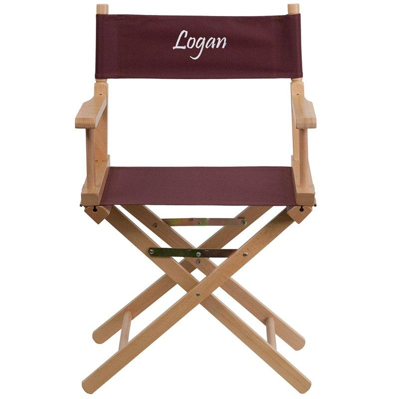 Flash Furniture TYD02-BN-TXTEMB-GG Personalized Standard Height Directors Chair in Brown