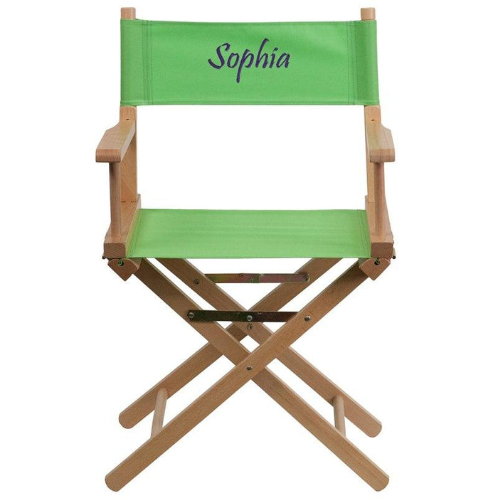 Flash Furniture TYD02-GN-TXTEMB-GG Personalized Standard Height Directors Chair in Green