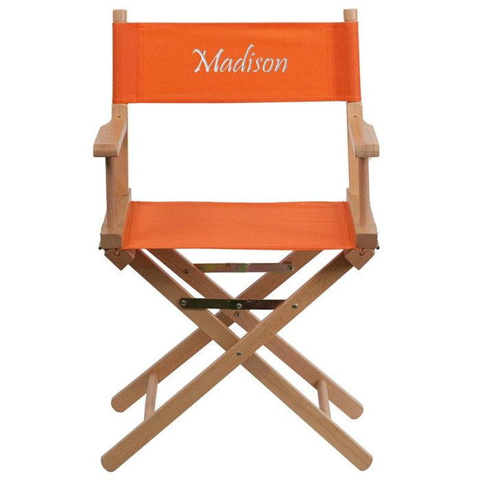 Flash Furniture TYD02-OR-TXTEMB-GG Personalized Standard Height Directors Chair in Orange