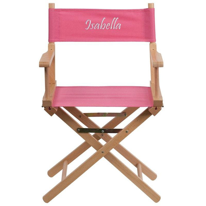 Flash Furniture TYD02-PK-EMB-GG Embroidered Standard Height Directors Chair in Pink