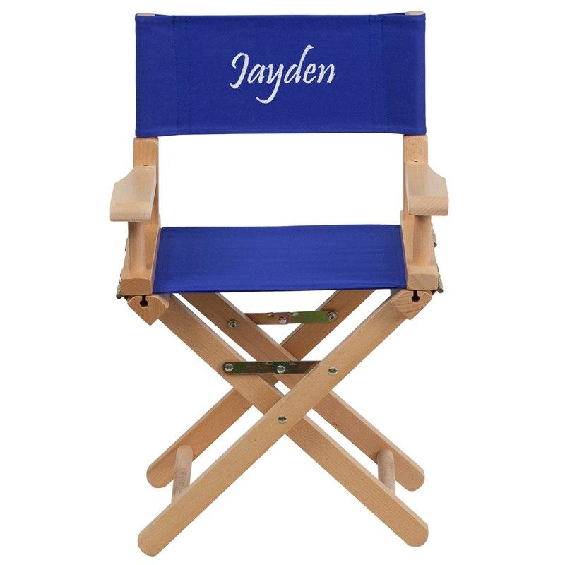 Flash Furniture TYD03-BL-TXTEMB-GG Personalized Kid Size Directors Chair in Blue