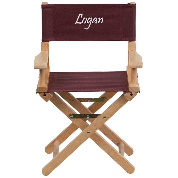 Flash Furniture TYD03-BN-TXTEMB-GG Personalized Kid Size Directors Chair in Brown