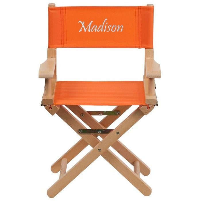 Flash Furniture TYD03-OR-TXTEMB-GG Personalized Kid Size Directors Chair in Orange