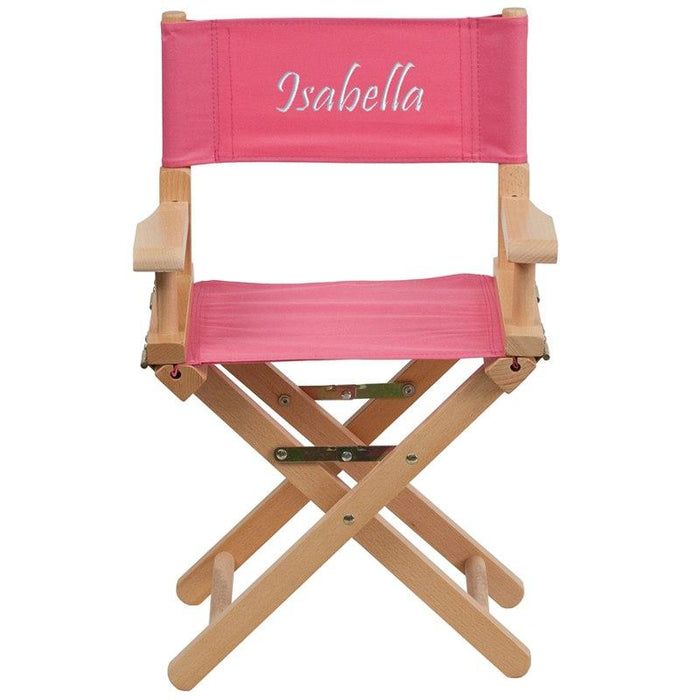 Flash Furniture TYD03-PK-TXTEMB-GG Personalized Kid Size Directors Chair in Pink