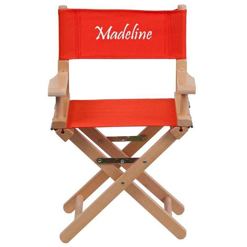 Flash Furniture TYD03-RD-TXTEMB-GG Personalized Kid Size Directors Chair in Red
