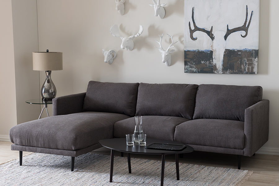 Wholesale interiors Riley Retro Mid-Century Modern Grey Fabric Upholstered Left Facing Chaise Sectional Sofa U6049-Grey-LFC-SF