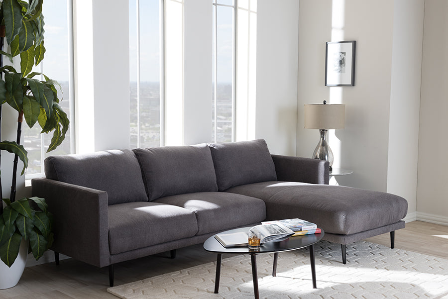 Wholesale interiors Riley Retro Mid-Century Modern Grey Fabric Upholstered Right Facing Chaise Sectional Sofa U6049-Grey-RFC-SF