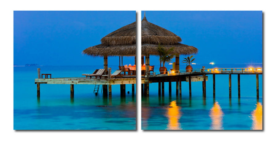 Wholesale interiors Dinner in the Tropics Mounted Photography Print Diptych VC-2069AB
