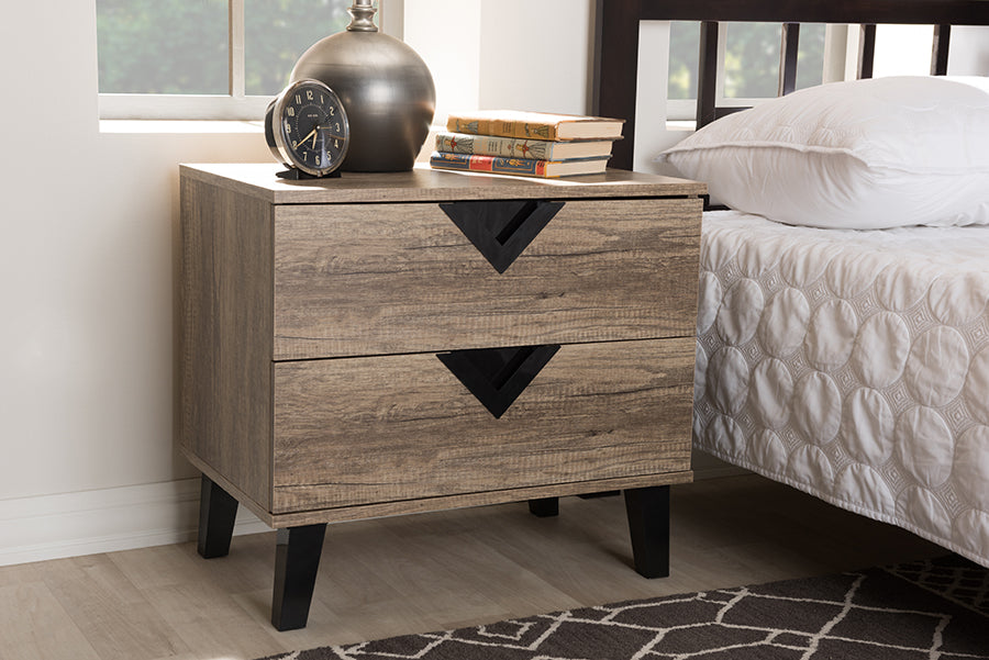 Wholesale interiors Swanson Modern and Contemporary Light Brown Wood 2-Drawer Nightstand W-602A