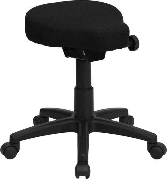 Flash Furniture WL-1620-GG Black Saddle-Seat Utility Stool with Height and Angle Adjustment
