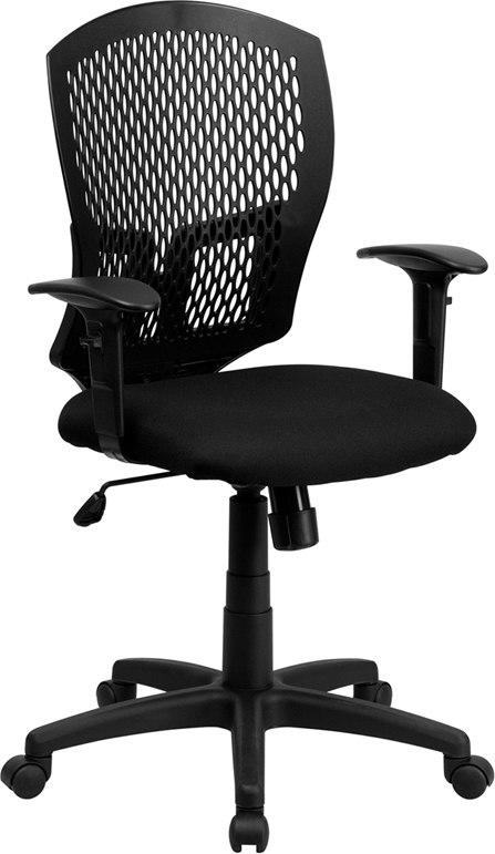 Flash Furniture WL-3958SYG-BK-A-GG Mid-Back Designer Back Swivel Task Chair with Fabric Seat and Adjustable Arms