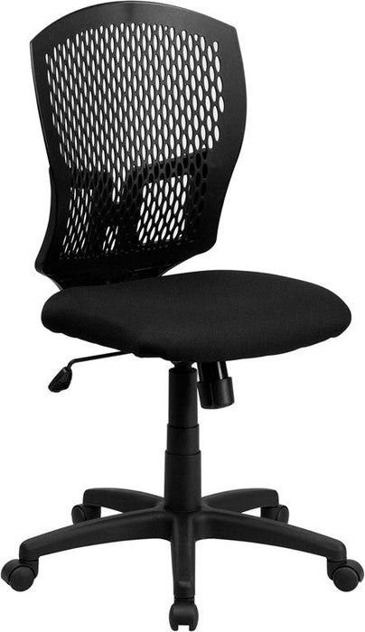 Flash Furniture WL-3958SYG-BK-GG Mid-Back Designer Back Swivel Task Chair with Fabric Seat