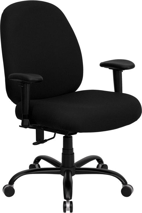 Flash Furniture WL-715MG-BK-A-GG HERCULES Series Big & Tall 400 lb. Rated Black Fabric Executive Swivel Chair with Adjustable Arms