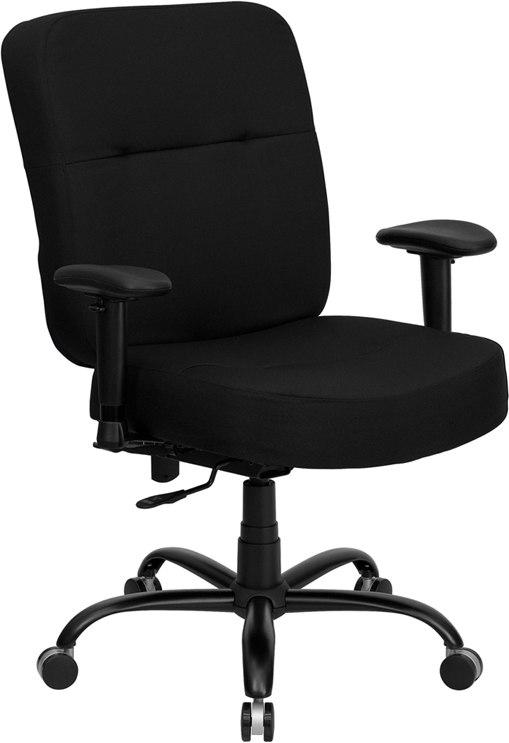 Flash Furniture WL-735SYG-BK-A-GG HERCULES Series Big & Tall 400 lb. Rated Black Fabric Executive Swivel Chair with Adjustable Arms